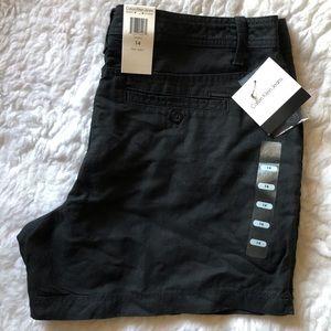 CALVIN KLEIN Black Linen Blend High Rise Shorts 14